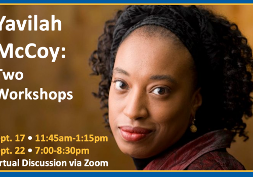 Advertisement for two workshops with Yavilah McCoy on racism and anti-semitism, on September 17 from 11:45 a.m. to 1:15 p.m. and September 22 from 7:00 to 8:30 p.m.